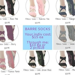 Grip sole barre socks, indiv exposed toe style